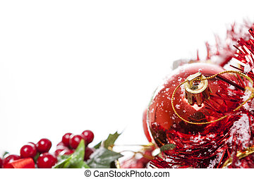 Christmas border with red bauble