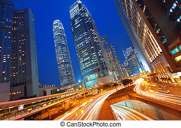 Modern Urban City with Freeway Traffic at Night, hong kong