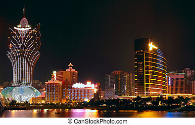 Macao cityscape with famous landmark of casino skyscraper...