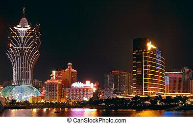 Macao cityscape with famous landmark of casino skyscraper and bridge