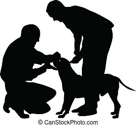 dog silhouette vector - dog, arbiter and owner at the...