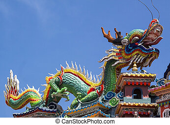 Colorful dragon statue on china temple roof