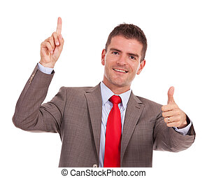 business man pointing and gesturing ok
