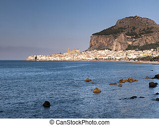 Old city Cefalu, Sicily - Old city Cefalu and La Rocca rock...