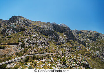 Winding road in mountain of Mallorca - Winding road in...