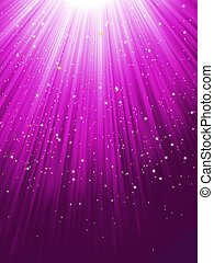 Stars are falling on purple luminous rays. EPS 8