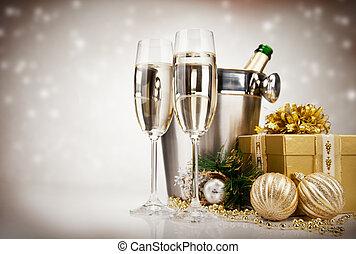 celebración, tema, champaña, vino