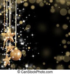 Natal, tema, dourado, vidro, estrelas, livre, espaço,...