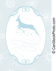 Christmas deer in the frame - Silhouette of a running...