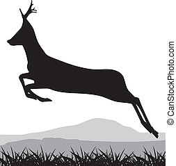 鹿, 跑, 黑色半面畫像