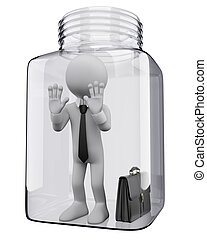 3D white people Businessman in a glass jar - 3d white...