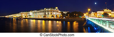 Panorama of Winter Palace in night - View of St. Petersburg....