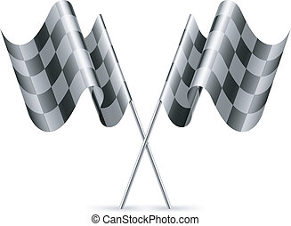 Checkered flags - Two black and white checkered flags