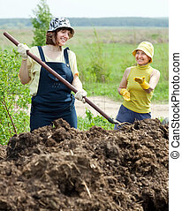 women works with manure at field - Two women works with...