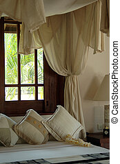 Details of bedroom - Details bedroom with a canopy bed and...