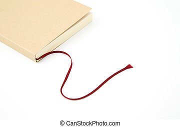bookmark - Book with red rope bookmark on white background