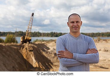 worker at sand pit - Portrait of worker at sand pit