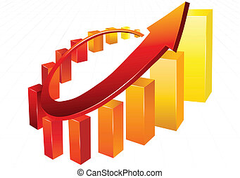 Business chart - Statistic charts, surrounded by 3d  arrow