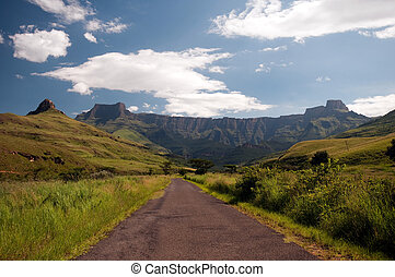 Drakensberg mountains in South A - The Tugela River flows...
