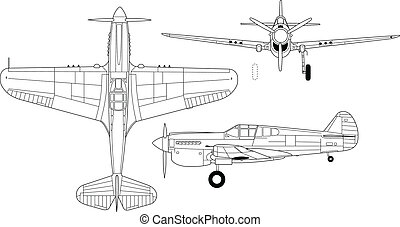 Curtis p-40 - High detailed vector illustration of old...