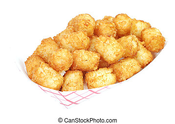 Fried tater tots in basket Isolated on white background