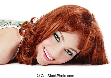 Laughing redhead - Beautiful red-haired girl with green eyes...