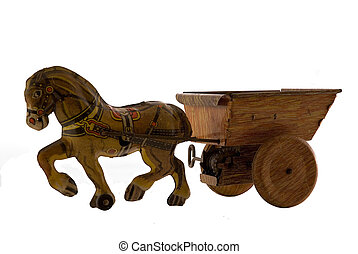 VINTAGE TIN TOY - vintage tin toy horse with cart isolated