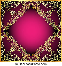 a background a frame with a gold ornament