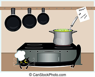 cat cook -  big black cat cooking soup in the kitchen