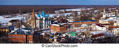 Panoramic view of Gorokhovets in winter. Russia