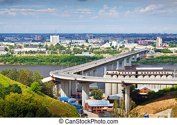 Nizhny Novgorod Metro Bridge through Oka - View of Nizhny...