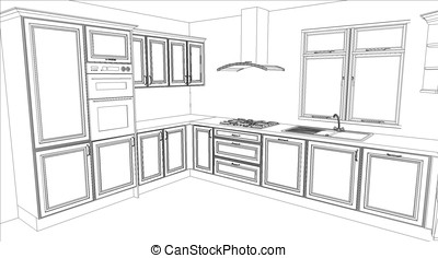 Kitchen design in white fill - White fill render of a...