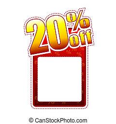 twenty percentage off label with text space - twenty...