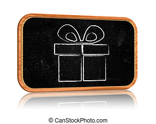 present box on blackboard banner