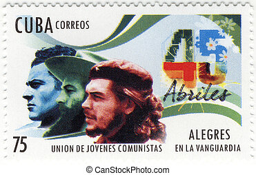 stamp with Ernesto Che Guevara and Fidel of Cuba