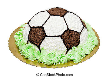 Football cake with chocolate and cream. Win celebrating with...