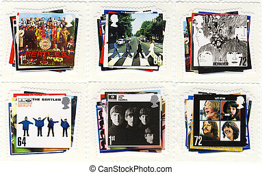 stamp with The Beatles from UK