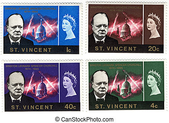 vintage stamp with Winston Churchill and queen Elizabeth