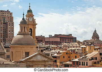 Genoa, Italy view - Roofs of the buildings in the city...