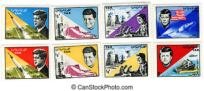 a vintage stamps with 35th president of USA  - John Fitzgerald Kennedy