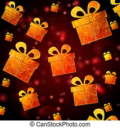 abstract red background with golden presents