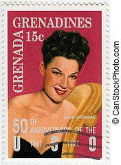GRENADA - CIRCA 1991 : stamp printed in Grenada shows Ann...