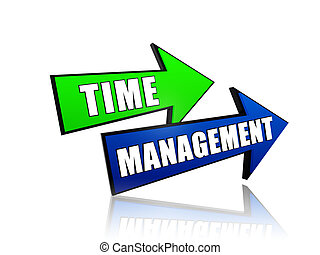 time management in arrows - text time management - words in...