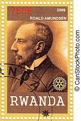 RWANDA - CIRCA 2009 : Stamp printed in the Rwanda shows portrait of the polar explorer Roald Engelbregt Gravning Amundsen, circa 2009