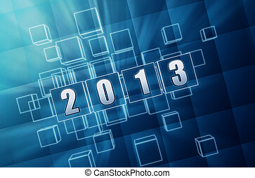 year 2013 in blue glass blocks - text year 2013 in 3d blue...