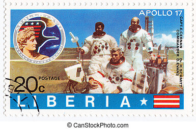 LIBERIA - CIRCA 1985 : stamp printed in Liberia shows NASA...