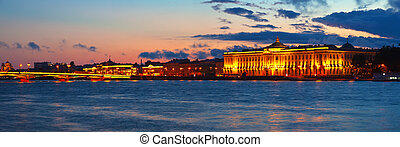 Panoramic view of Neva river in sunset