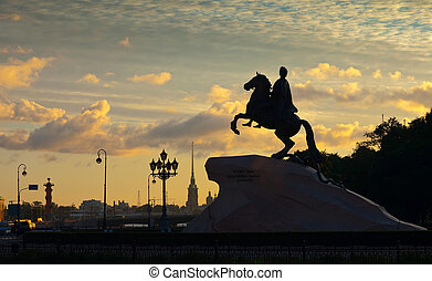 Equestrian statue of Peter the Great in dawn. Saint...