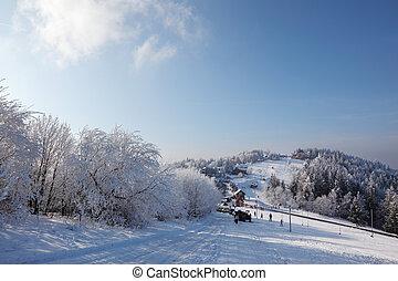 Winter wide ski track.