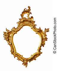 Gold frame unusual shape Isolated over white background